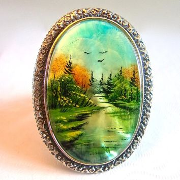Amy Kahn Russell Mother of Pearl Ring Sterling Silver MOP Painted Green Landscape, Size 7 Vintage