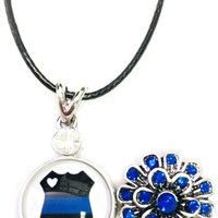"Heart In Badge Sheriff Police Officer Thin Blue Line Snap on 18"" Leather Rope Diamond Pendant Necklace W/ Extra 18MM - 20MM Snap Charm"