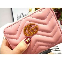 GUCCI Trending Women Stylish Leather Metal Double G Logo Zipper Wallet Purse Satchel Tote Handbag Pink I-AGG-CZDL