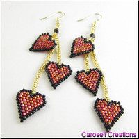 Triple Drop Heart Beadwork Dangle Valentine Seed Bead Earrings