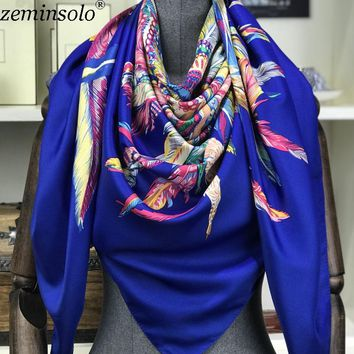 Poncho Silk Scarf Women Luxury Brand Foulard Hijab Square Scarves Fashion Printed Wraps Bandana Large Shawls Stoles 130*130cm