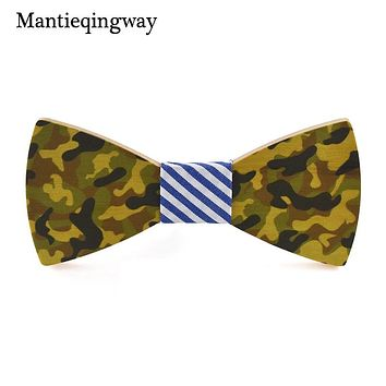 Personality Camouflage Wood Bowtie Mens Handmade Wooden Bow Tie For Grooms Bowknots Collar Gravatas Cravat