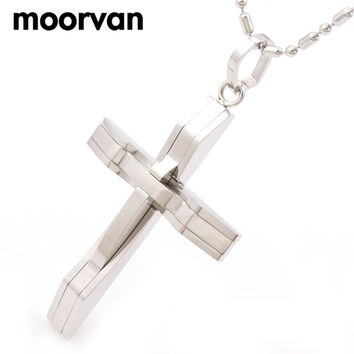 cross pendant necklace men's stainless steel crucifix jewelry women's necklaces punk fashion waves shaped 2016 free shipping