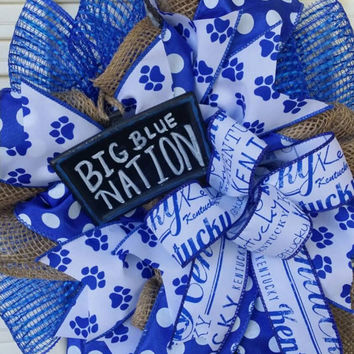 Kentucky Wreath Big Blue Nation Wreath Kentucky Wildcat Fan Go Big Blue  Wreath Small Kentucky Wreath Kentucky Decor