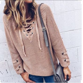 Plunge Neck Lace Up Front Long Sleeve Knit Dress