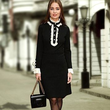 Street Dress New 2016 Autumn New Fashion Peter Pan Collar Full Flare Sleeve High Quality Women Luxury Black Elegant Dress