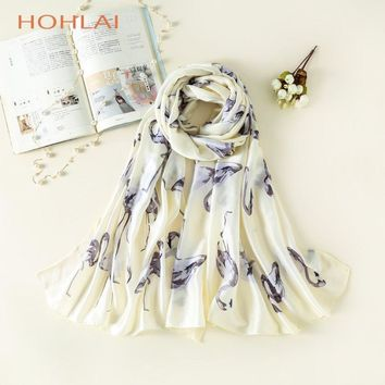 2018 New Fashion Arrival Lady's silk scarf with cute birds print brand beach cover shawls bandana Long Shaw muslim hijab scarves