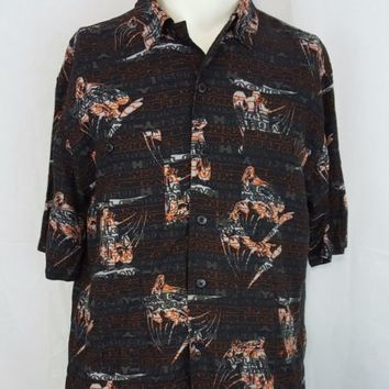 Harley Davidson Motorcycles Hawaiian Camp Rayon Black Shirt Size Medium