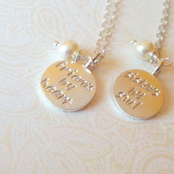 friends By Heart Sisters By Soul Sterling and Thai Silver Charm Necklace Set-Gift for best Friend, Gift for Friend, Gift for Soul Sister