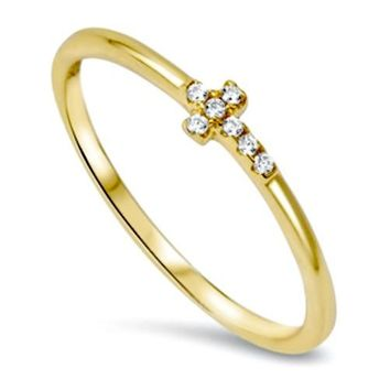 .925 Sterling Silver Cross Sideways Yellow Gold Ring CZ Ladies and Kids Size 2-10 Midi Thumb Toe