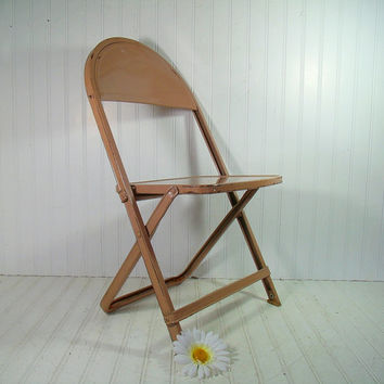 Vintage Child Size Metal Folding Chair - Retro Furniture from the Durham Mfg. Company - Industrial Brown Enamel Seating - Mid Century Design