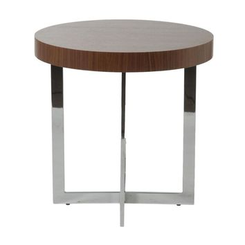 Oliver Round Side Table in Walnut with Chrome Base