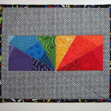 Quilted Mug Mat , Quilted Candle Mat , Mini Quilt , Mouse Pad , Modern Prism