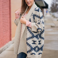 Dessert Diamonds Cardigan, Taupe-Navy