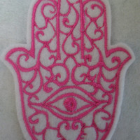 hot pink embroidered hamsa, chamsa, khamsa iron on patch