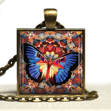 Mandala Butterfly Design Glass Tile Pendant Necklace Vibrant Butterfly Jewelry