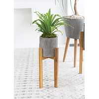 """Berlin Wood and Concrete Ceramic Plant Stand - 21.75"""" Tall"""
