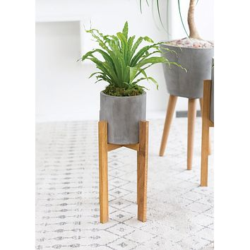 "Berlin Wood and Concrete Ceramic Plant Stand - 21.75"" Tall"