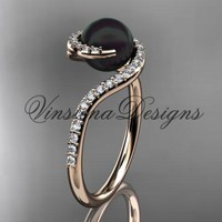 14kt rose gold diamond, pearl engagement ring VBP8199