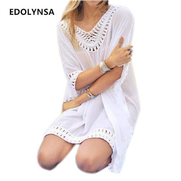 New Arrivals Rayon Beach Cover up Women Swimwear White Dress Tunics Kaftan Crochet Beachwear Ethnic Women Robe de Plage #Q231