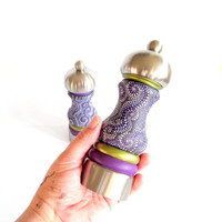 Hand Painted Salt and Pepper Mills Set Brushed Stainless steel Purple Pepper Mills