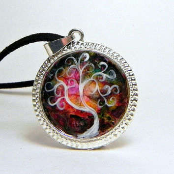 Abstract TREE Pendant Necklace Eggshell Mosaic Silver Plated with Leather cord chain