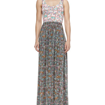 Mixed-Print Jersey Maxi Dress, Size: