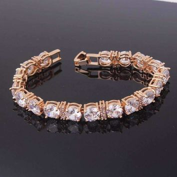 Brilliance Oversize Diamond CZ Tennis Bracelet in Gold