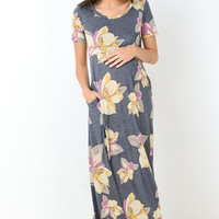Pocketed Floral Maternity Maxi Dress