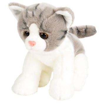 12 Inch Stuffed Gray and White Tabby Kitten Plush Floppy Cat Animal Kingdom Collection