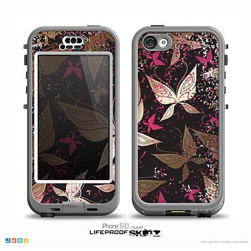 The Gold & Pink Abstract Vector Butterflies Skin for the iPhone 5c nüüd LifeProof Case