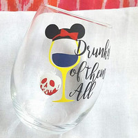 Disney Wine Glass,Snow White, Disney Tumbler, Drunkest Of Them All, Glitter Wine Glass , Food And Wine Festival