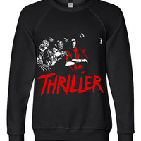 Michael Jackson King of Pop Inspired Thriller Unisex-Triblend-Sponge-Fleece-Crewneck-Sweatshirt-ASW-3901