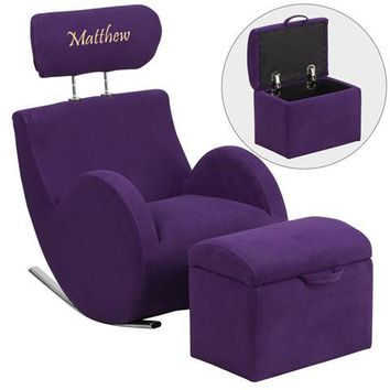 Personalized HERCULES Series Purple Fabric Rocking Chair with Storage Ottoman