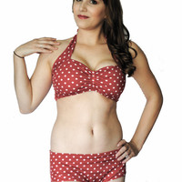 Retro Red & White Polka dot Two piece Pinup Bikini swimsuit