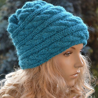 SALE 10% Knitted Slouchy cable style beanie hat - womens chunky - accessories - baggy slouch - thick and extra warm