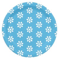 Vintage White Flower Patterns on Custom Blue Paper Plate