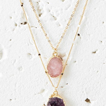 Faux Geode Pendant Necklace Set - Jewellery - 1000174596 - Forever 21 UK