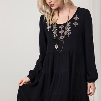 Tie Back Embroidered Dress