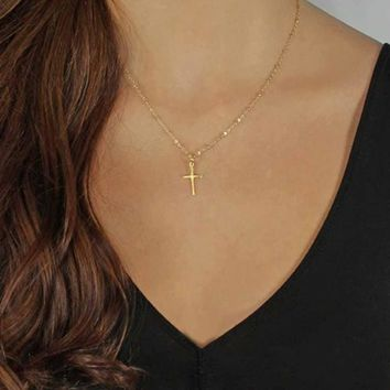 TOMTOSH 2017 Summer Gold Chain Cross Necklace Small Gold Cross Religious Jewelry
