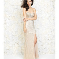 Gold Strapless Linear Beaded Gown