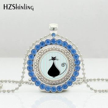 HZShinling 2017 New Arrival Crystal Necklace for Women Lovely Cats Crystal Necklace Black  Cute Lovers Gifts Beads Chain HZ6