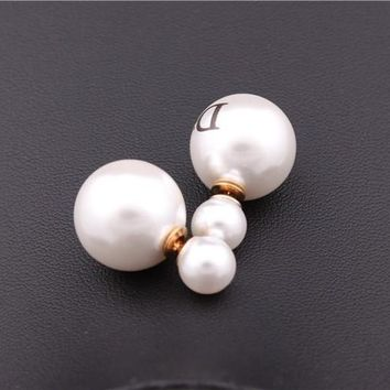 Gold Plated Double White Big Pearls Dior Stud Earrings