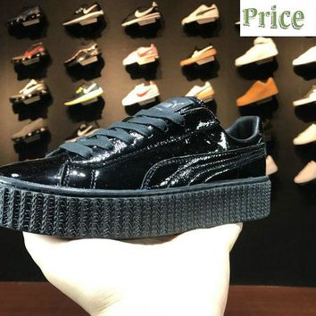 Genuine 2018 Rihanna x Puma Basket Suede Creepers Patent leather 362268 01 Black sneaker