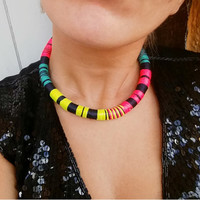 Africa necklace, Choker Necklace, Grunge Choker, African Jewelry, Gift for her, Choker Necklace, Choker, Necklaces, Tribal Necklace
