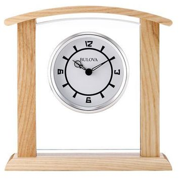 Bulova Athena Executive Desk Clock - Alder Hardwood Case - Floating White Dial