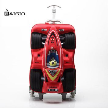 3D Car Rolling Luggage Suitcase With Wheel