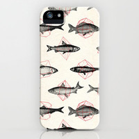 Fishes In Geometrics (Red) iPhone Case by Speakerine