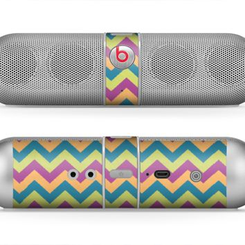 The Retro Colored Green & Purple Chevron Pattern Skin for the Beats by Dre Pill Bluetooth Speaker