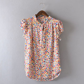 Comfortable casual Open collar Short sleeve Lively lady Blouse Striped flowers Solid Polka Dot Shirts Women's shirt tops,nc14
